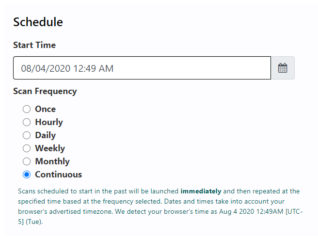 Screenshot of Rumble continuous scan scheduling