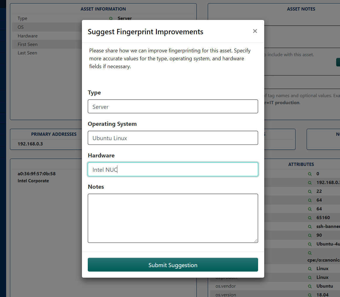 Screenshot of Rumble Improve Fingerprint Form