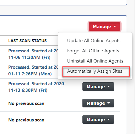 Screenshot of Rumble Automatic Agent to Site Assignment