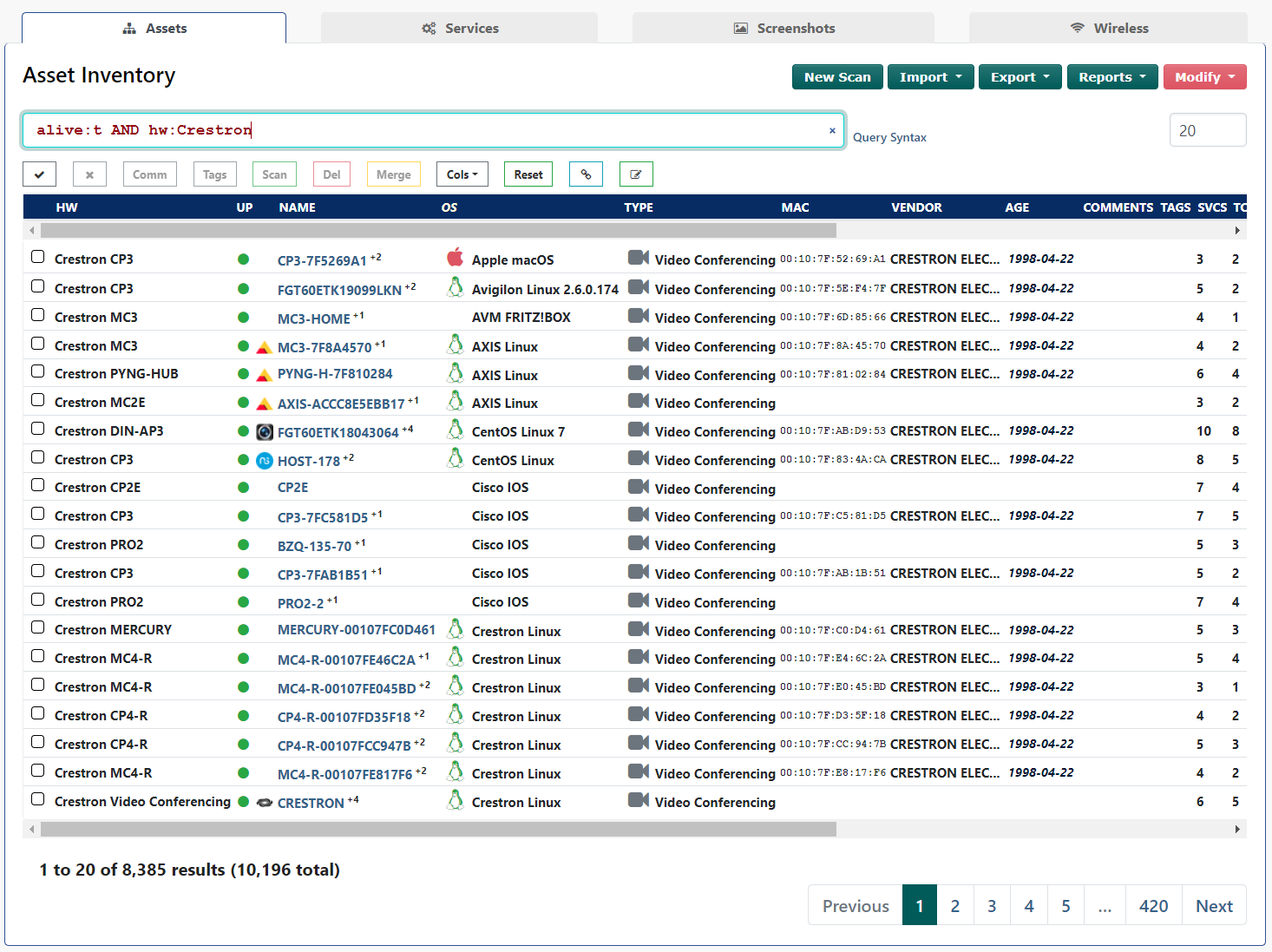 Screenshot of Rumble Crestron Identification