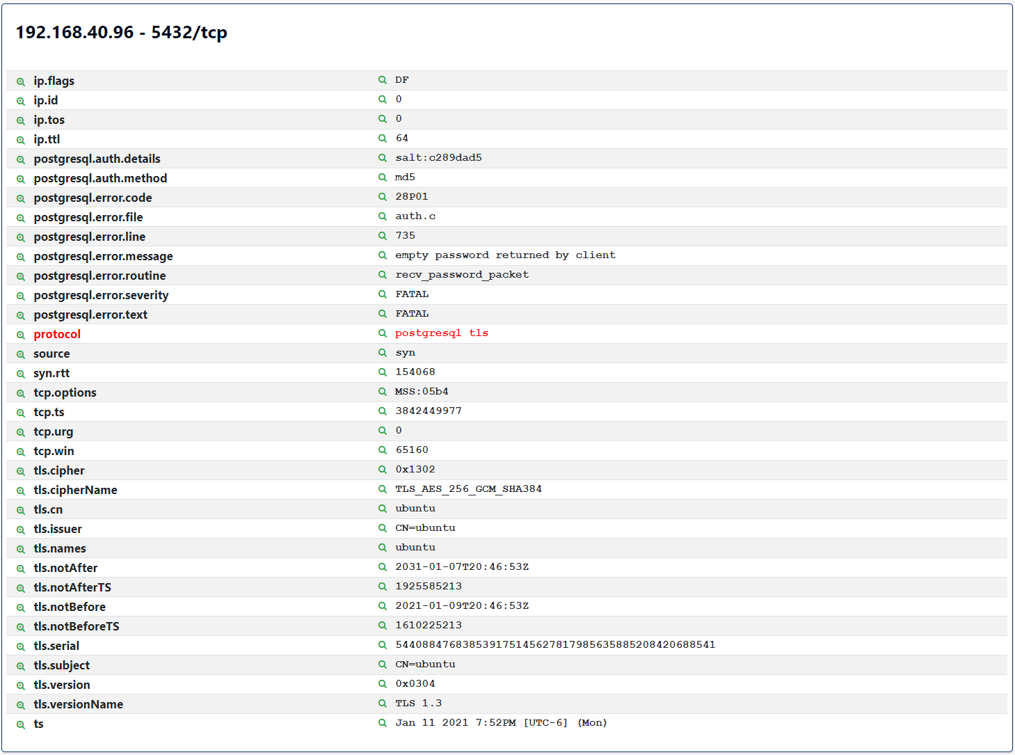 Screenshot of Rumble PostgreSQL TLS Attributes