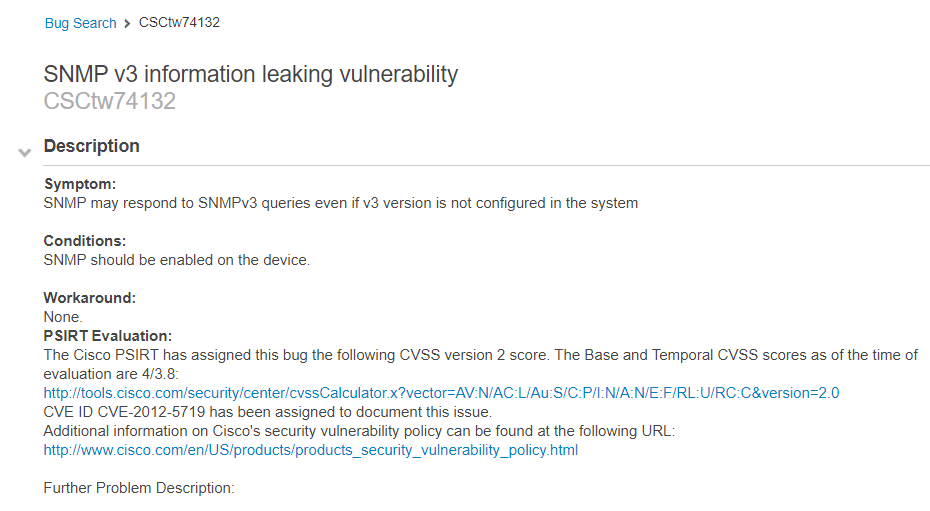 Cisco Bug CSCtw74132: SNMP v3 Information Leaking Vulnerability